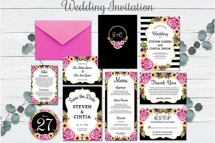 Wedding Invitation Set Flower rose pink template