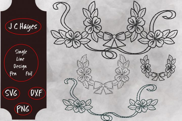 Floral Monogram Frames, Single Line File, Sketch Pen, Foil