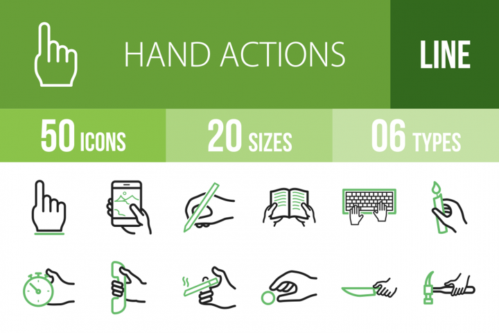 50 Hand Actions Line Green & Black Icons
