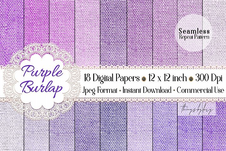 18 Seamless Realistic Purple Lilac Burlap Digital Papers