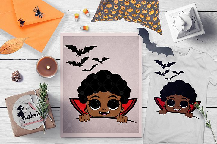 Halloween Afro Peeking Vampire Boy Bats SVG Cut File
