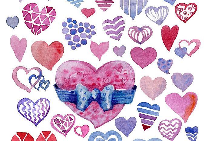 Cute watercolor hearts pack