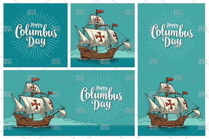 Posters Happy Columbus Day Sailing ship floating engraving