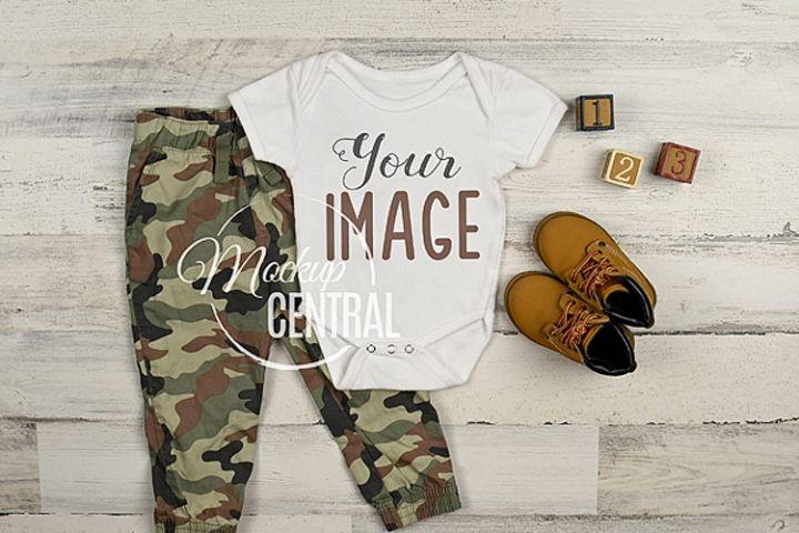 Baby Boy Blank Camouflage Onepiece Bodysuit Mockup, JPG