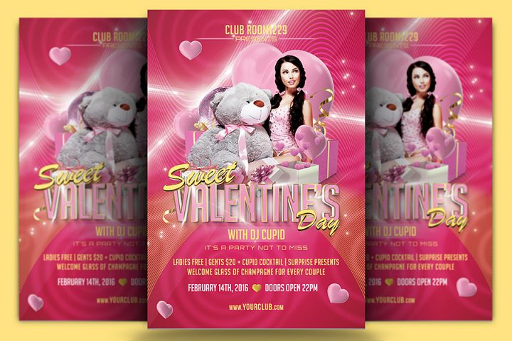 Sweet Valentines Day Flyer Template & Facebook Cover