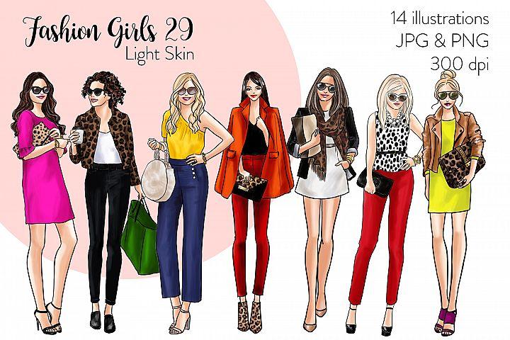 Fashion illustration clipart - Fashion Girls 29 - Light Skin