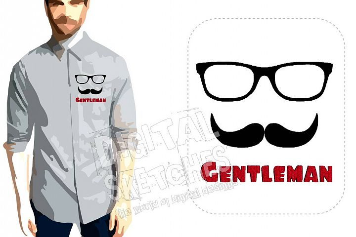 Gentleman Mustache Machine Embroidery Design 3 Sizes