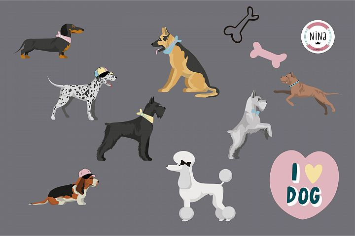 Love dogs clipart, puppy clip art set, dogs, dachshund