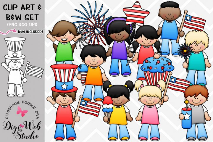 Clip Art / Illustrations - 4th of July Kids