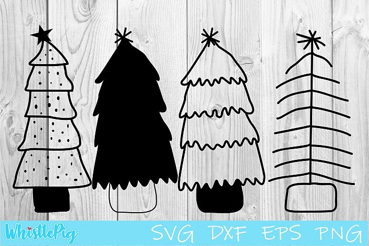 Christmas Tree Svg Hand Drawn Christmas Tree SVG DXF EPS PNG