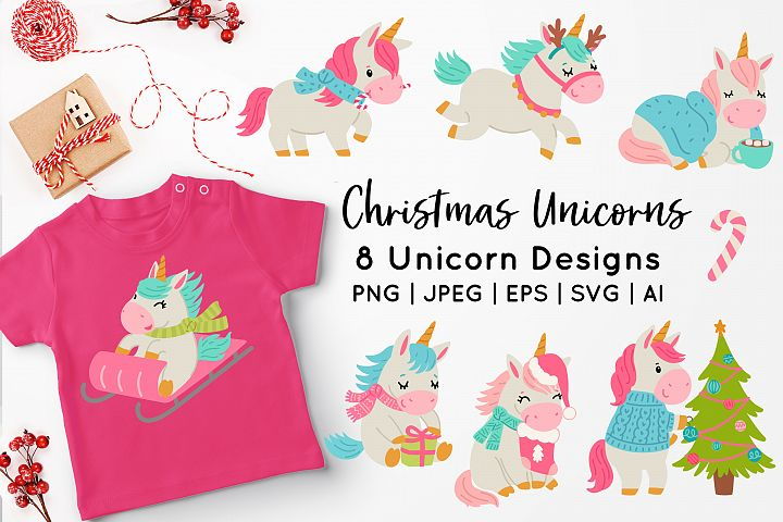 Christmas Unicorn Vector Art