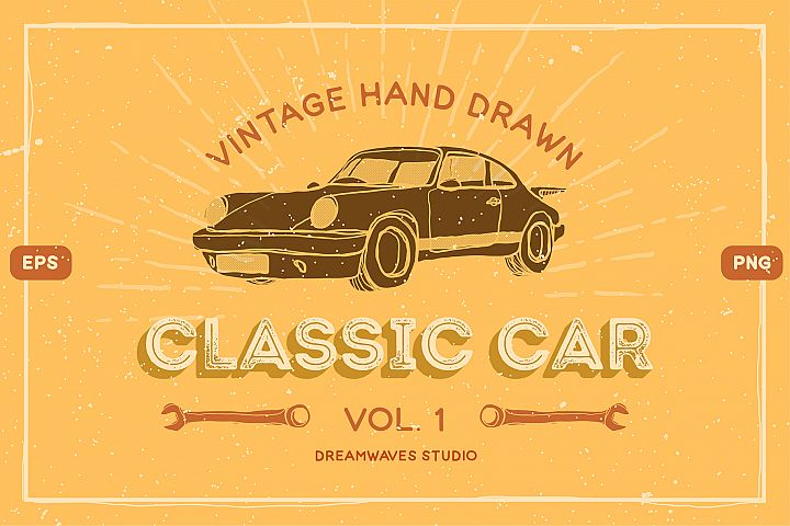 Vintage Hand-Drawn Classic Car Vol.1