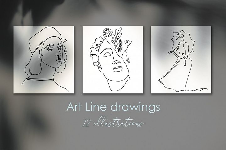 Line Art Graphic collection. Minimalist One Line Artist