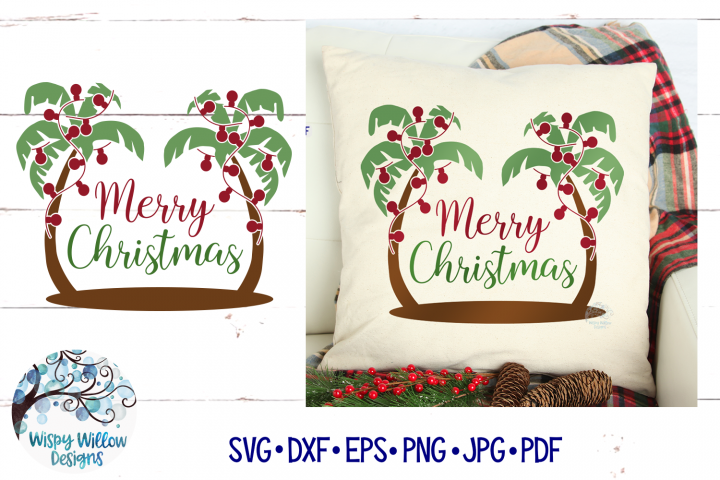 Palm Tree Merry Christmas | Tropical Christmas SVG Cut File