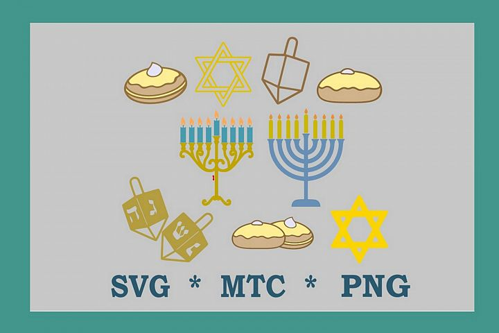 SVG Hanukkah Channukka Icons CRAFTING BUNDLE Cut File