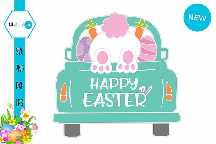 Easter Truck Svg, Easter Bunny Svg