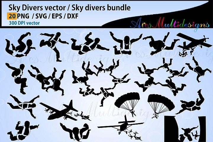 Sky Divers SVG silhouette Bundle, skydivers SVG bundle