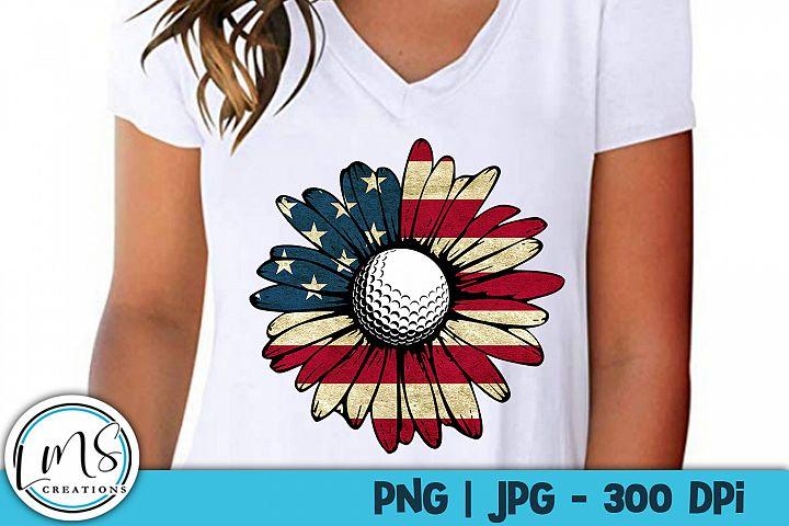 Patriotic Sunflower - Golf PNG, JPG, Sublimation, Print