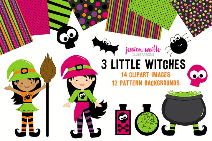 3 Little Witches Halloween Clipart Graphics Collection
