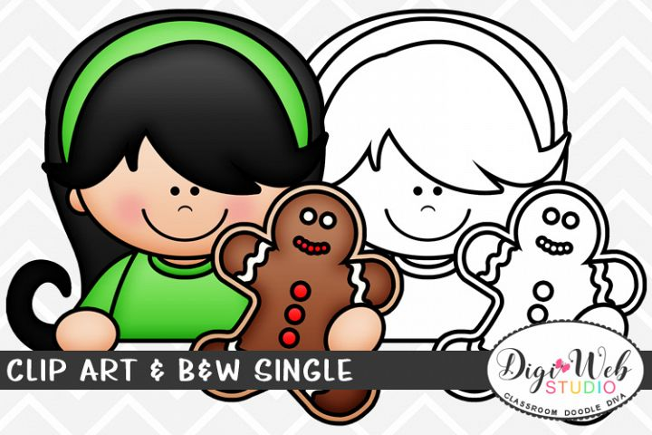 Clip Art & B&W Single - Topper Girl w/ A Gingerbread Cookie