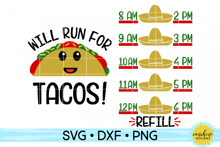 WILL RUN FOR TACOS - WATER INTAKE TRACKER SVG