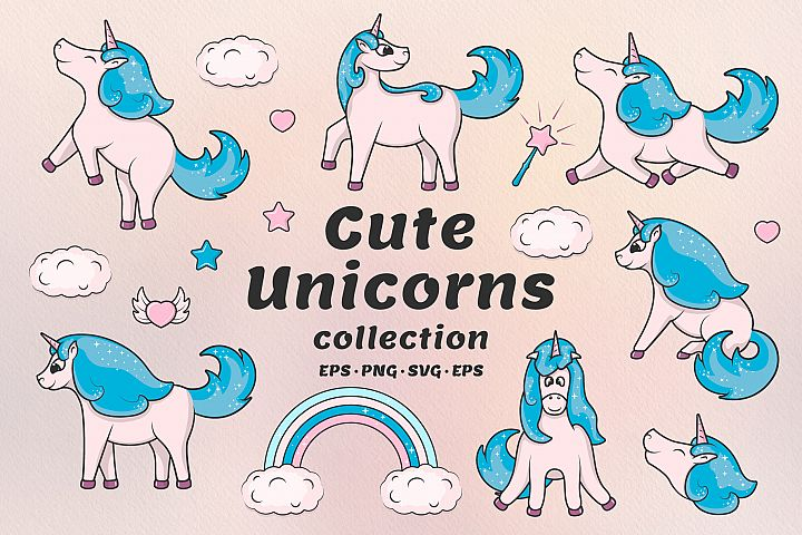 Hand drawn cute unicorns collection