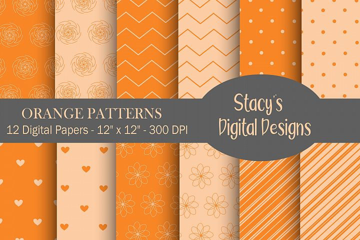 Orange Patterns - 12 Digital Papers