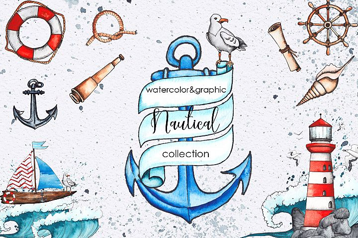 Watercolor & graphic nautical set