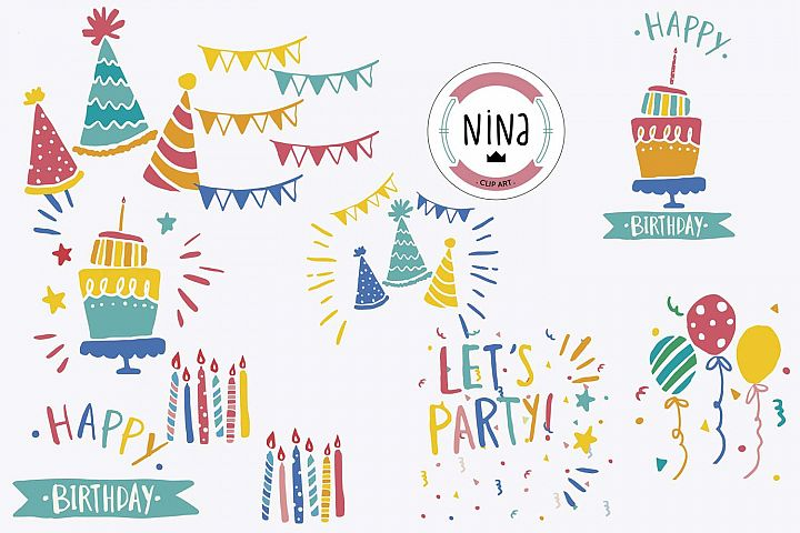 Birthday Party Clip Art, 10 PNG files, Birthday clipart