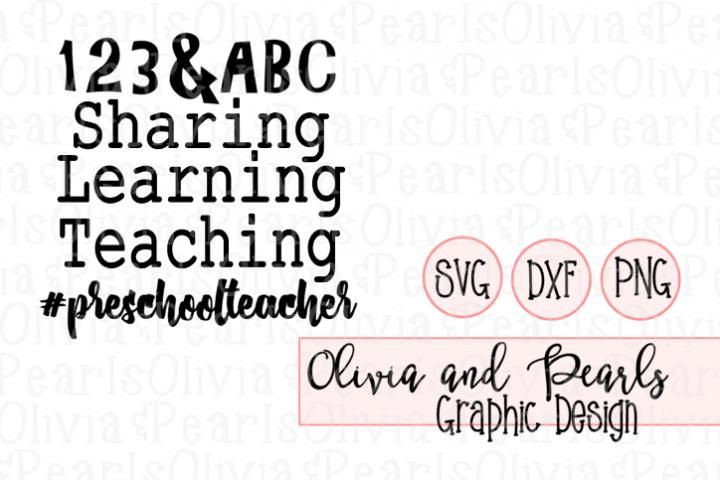 Preschool Teacher, Digital Cutting File, SVG, DXF, PNG for Cameo or Cricut Machine