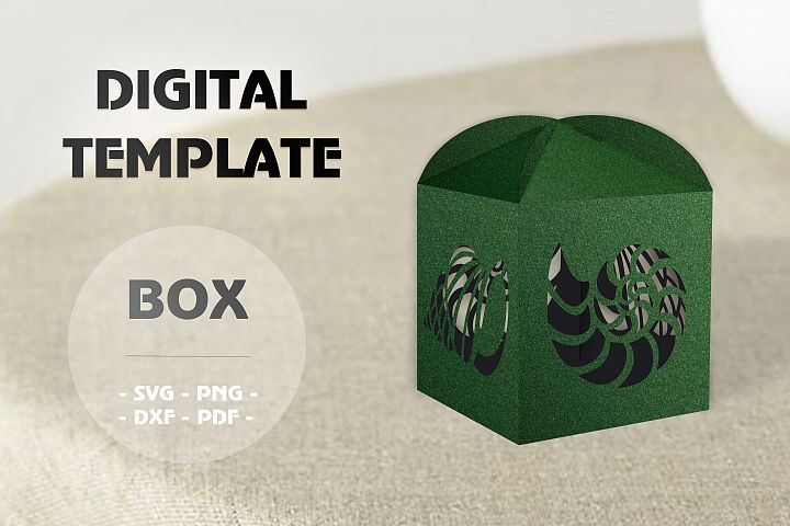 Tropical wedding favor box template, Svg files for cricut