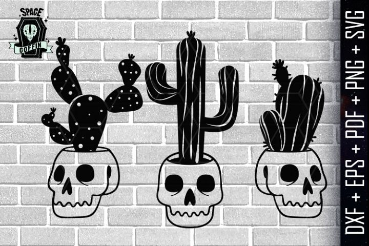 Skull Succulent Pot Silhouette Vector dxf eps pdf png