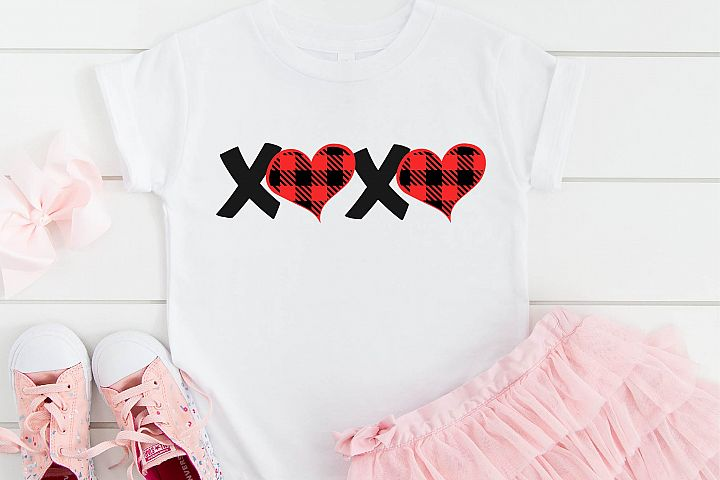 Valentines Day SVG XOXO Buffalo Plaid Heart Sublimation