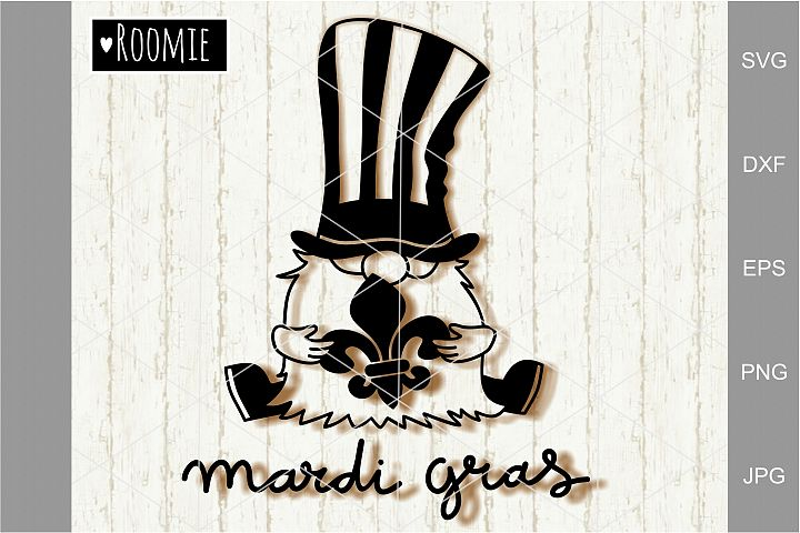 Mardi Gras Gnome Svg, Fat Tuesday Svg, Fleur de Lis Clipart