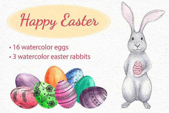 Watercolor easter rabbits and colourfull eggs. Clip art set