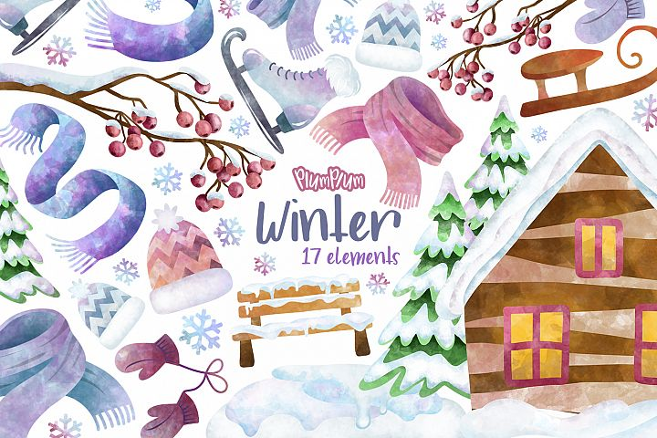 Winter Watercolor Cliparts