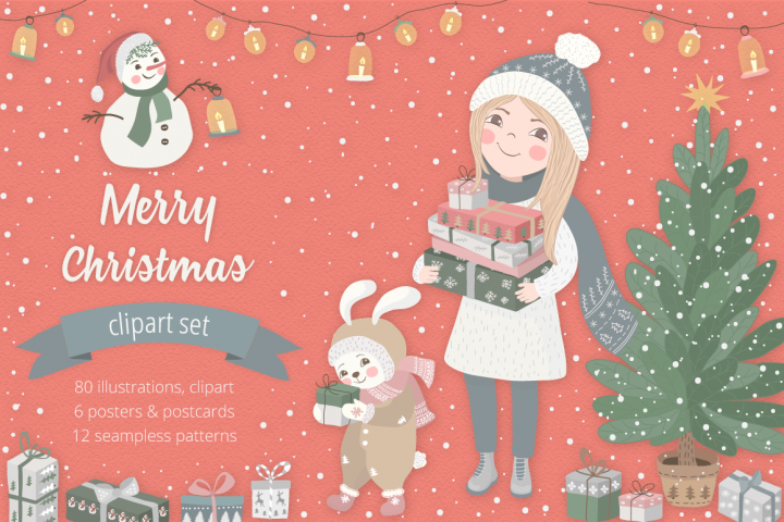 Merry Christmas Illustration Set