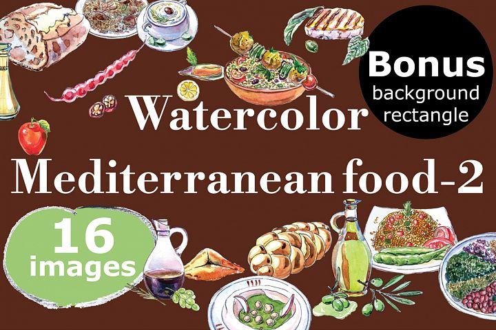Watercolor Mediterranean food set-2