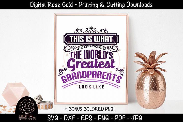 Worlds Greatest Grandparents - Grandma SVG, Grandpa SVG