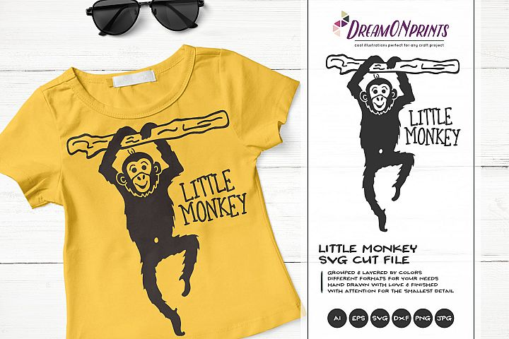 Little Monkey| Fun Kids SVG | Funny Monkey Illustration