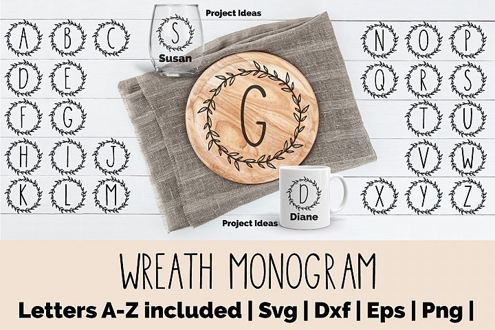 Wreath Monogram Bundle - SVG, EPS, DXF, PNG