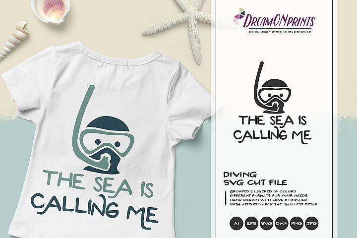 The Sea is Calling Me | Scuba Diving SVG Cut File