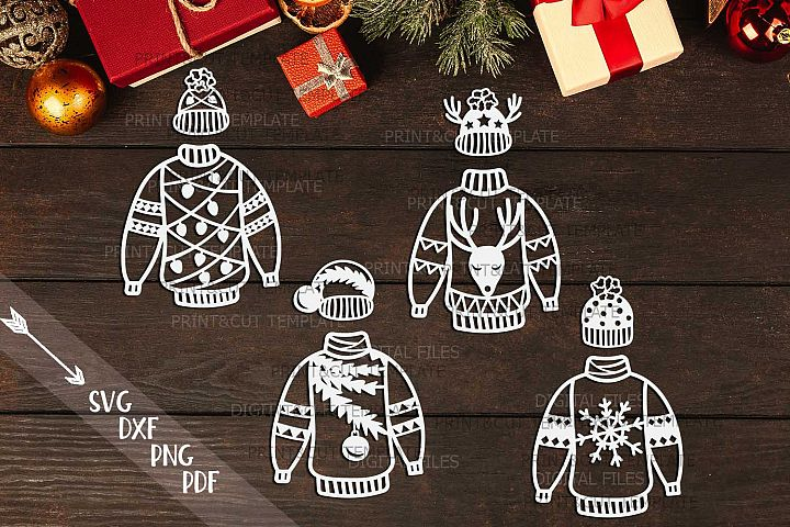 Christmas Sweaters bundle SVG PDF laser paper vinyl cut