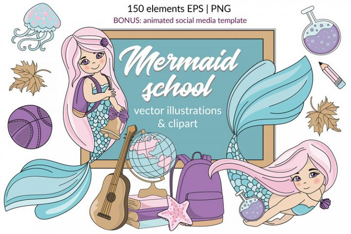 MERMAID SCHOOL Vector Illustration Animation Set
