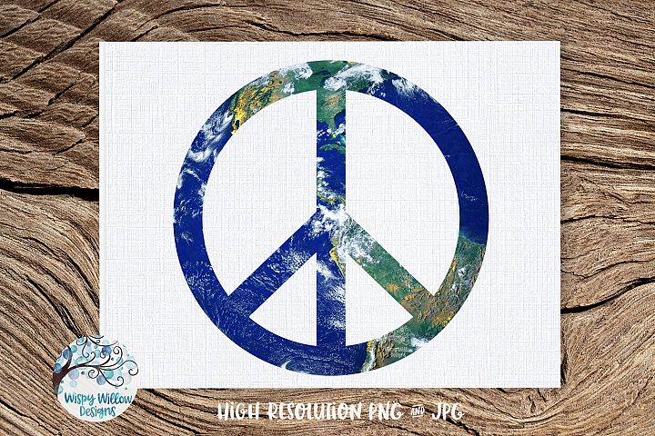 Earth Peace Sign PNG | Sublimation | Hippie | World Peace