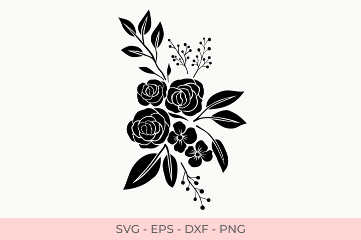 Rose Flowers Silhouette Svg, Rose Florals Silhouette Svg, Flower Bouquets Svg