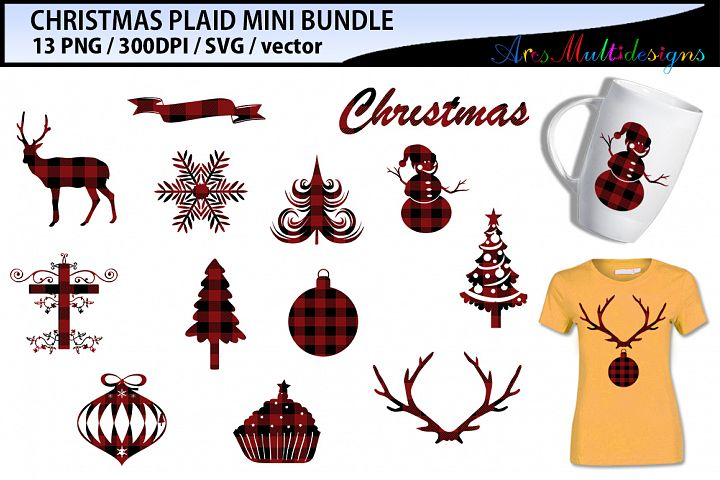 Christmas Plaid SVG bundle / christmas buffalo plaid png