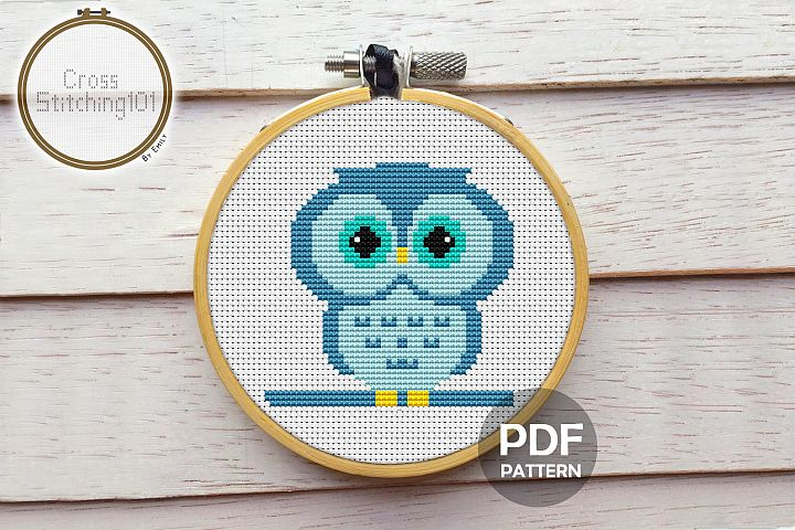 Owl Cartoon Cross Stitch Pattern - Instant Download PDF