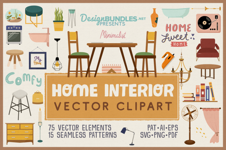 Home Interior Vector Clipart and Seamless Pattern