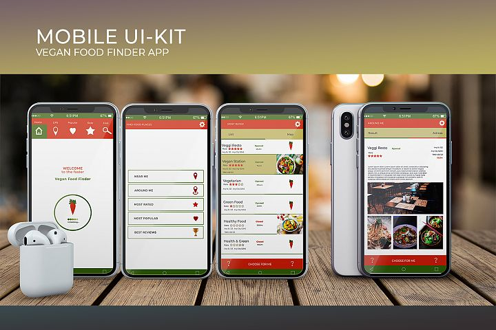 Mobile Ui-Kit | Vegan Food Finder App - 6 PSD Templates